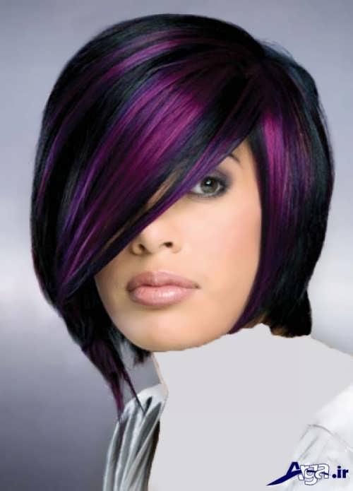 مدل هایلایت بنفش روی موی مشکی