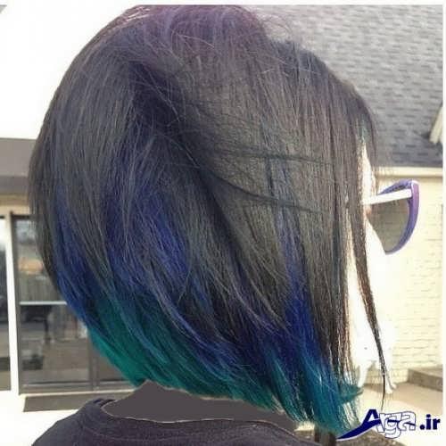 مدل هایلایت سبز و آبی روی موی مشکی
