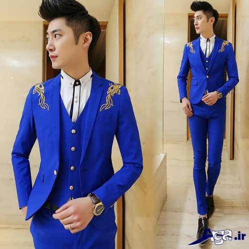 کت و شلوار آبی مردانه