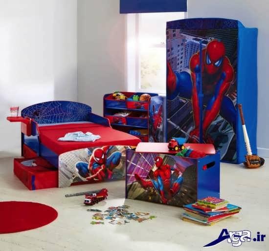 مدل سرویس خواب کودک با طرح مرد عنکبوتی