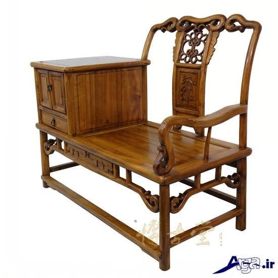 میز تلفن از جنس چوب و صندلی دار