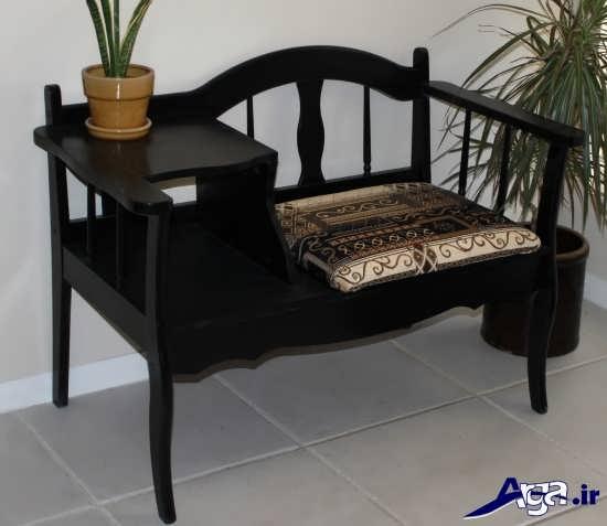 میز تلفن صندلی دار ساده و شیک چوبی