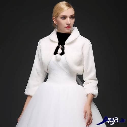 کت عروس با طرح زمستانی و آستین سه ربع