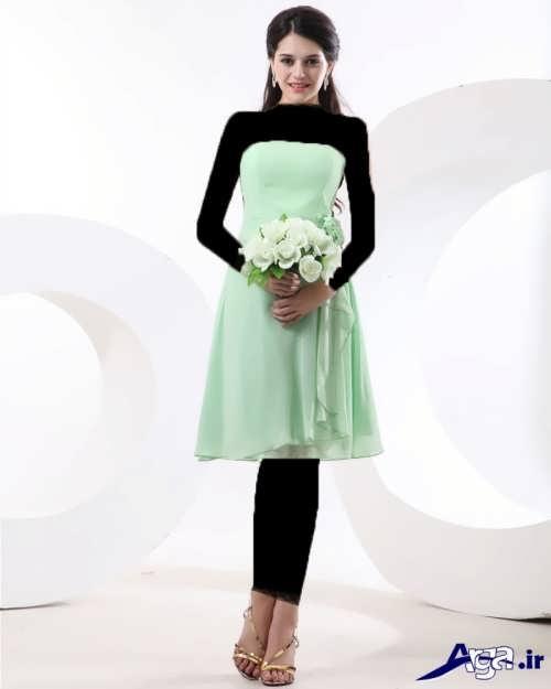 مدل لباس مجلسی سبز دکلته با طرح کوتاه