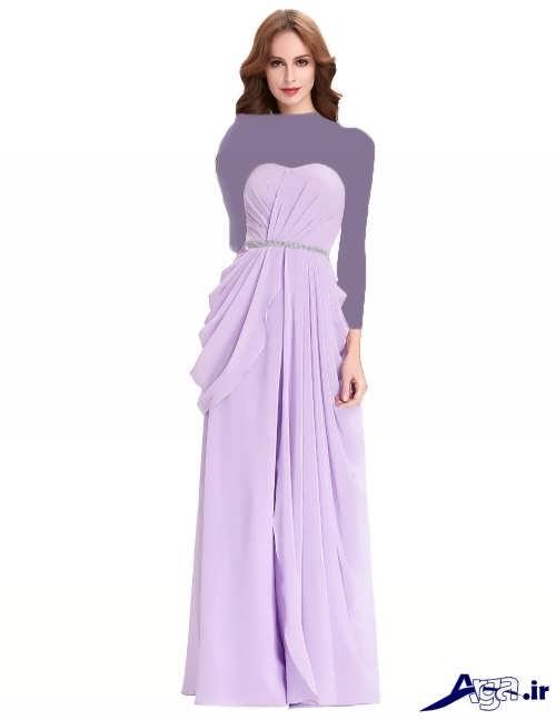 مدل لباس مجلسی دکلته با طرح بلند و زیبا