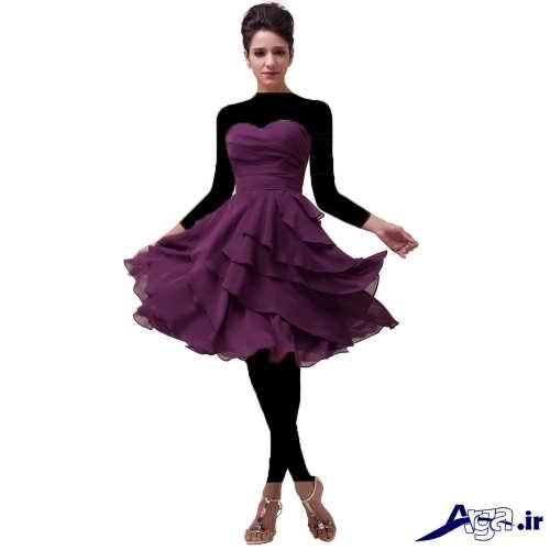 مدل لباس دکلته مجلسی با طرح کوتاه