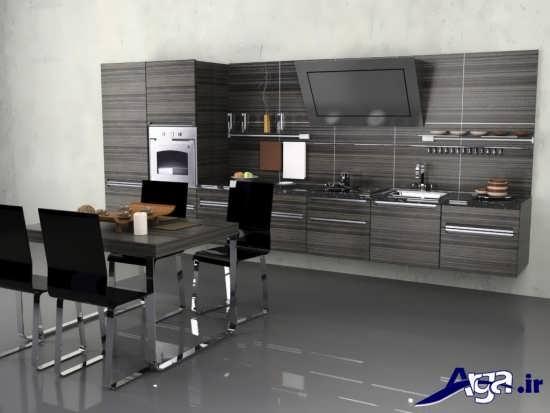 طراحی دکوراسیون داخلی آشپزخانه با رنگ تیره