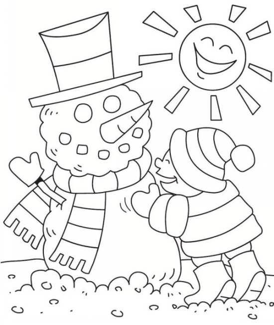 نقاشی خورشید و آدم برفی