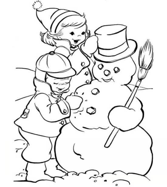 نقاشی بچه ها و آدم برفی