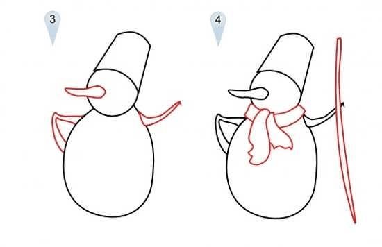نحوه کشیدن نقاشی آدم برفی