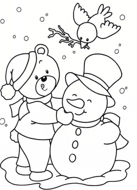 نقاشی خرس و آدم برفی