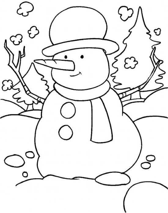 نقاشی ساده آدم برفی