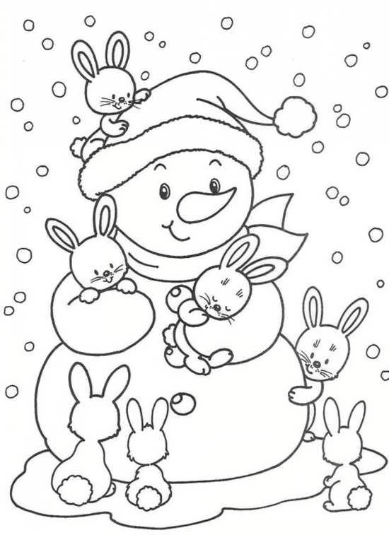 نقاشی خرگوش های زیبا و آدم برفی
