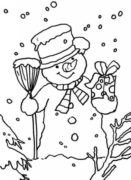 نقاشی کریسمس و آدم برفی