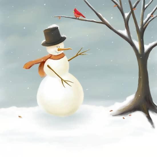 رنگ آمیزی زیبا نقاشی آدم برفی