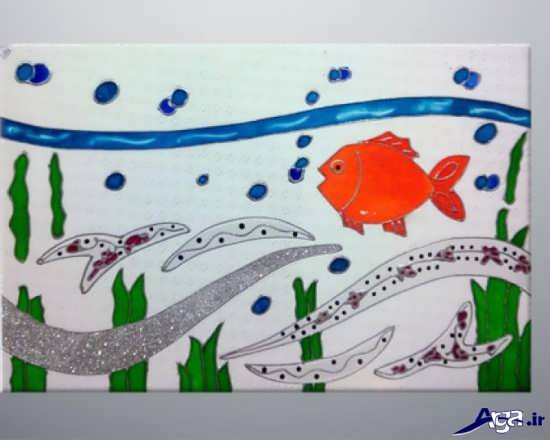 نقاشی ماهی روی کاشی