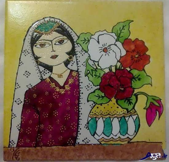 نقاشی خاتون روی کاشی
