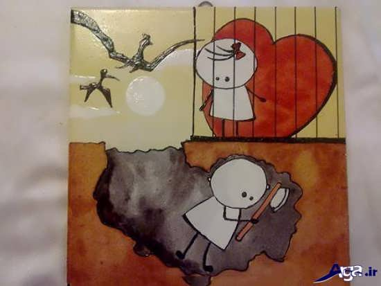 نقاشی های فانتزی و عاشقانه روی کاشی
