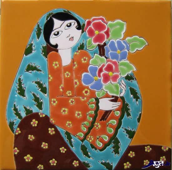 کاشی های نقاشی شده زیبا