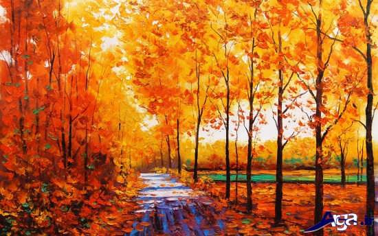 مدل نقاشی از طبیعت پاییزی