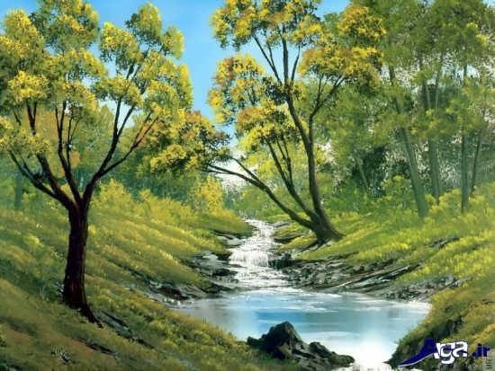 نقاشی از درختان در طبیعت