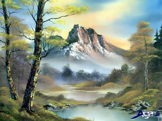 نقاشی از منظره های سرسبز و زیبا