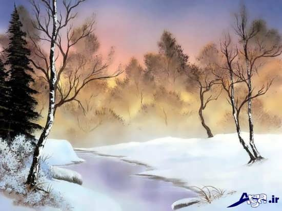 نقاشی از منظره برفی بسیار زیبا