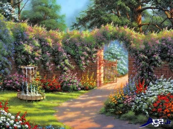 مدل نقاشی زیبا از طبیعت سرسبز