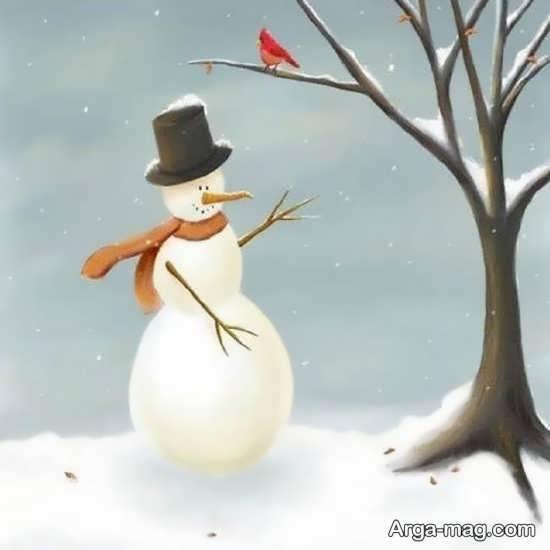 رنگ امیزی زیبا از آدم برفی