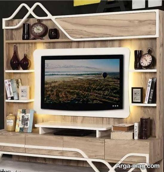 قشنگ ترین مدل میز تلویزیون چوبی