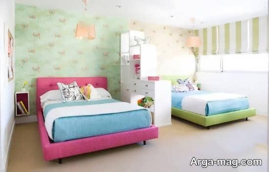 دکوری زیبا از اتاق نوزادان دوقلو