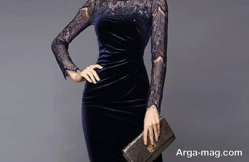 مدل پیراهن مخمل گیپور دار