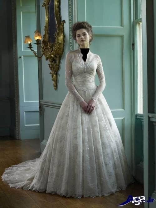 مدل لباس عروس ملکه ای آستین دار