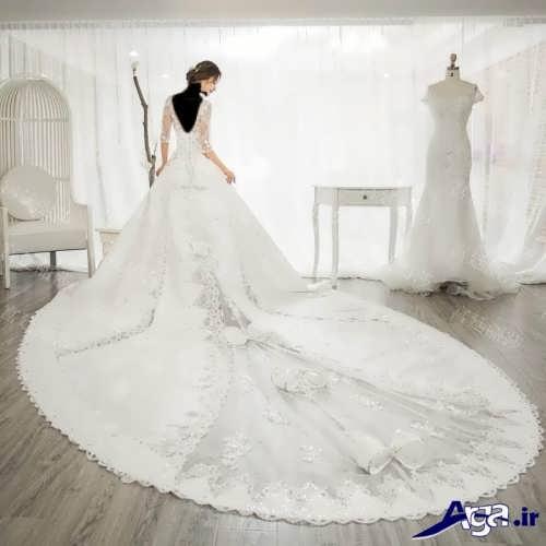 لباس عروس ملکه ای دنباله دار