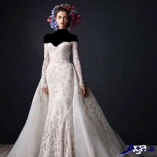 انواع مدل های لباس عروس ملکه ای آستین دار