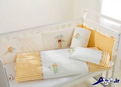 مدل تشک و لحاف نوزاد با رنگ زرد و سفید