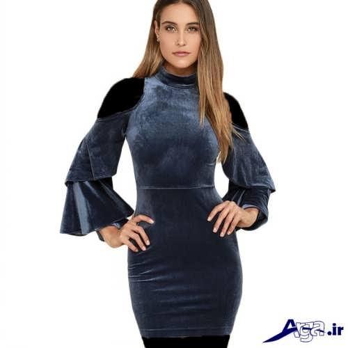 مدل لباس مجلسی مخمل شیک و زیبا