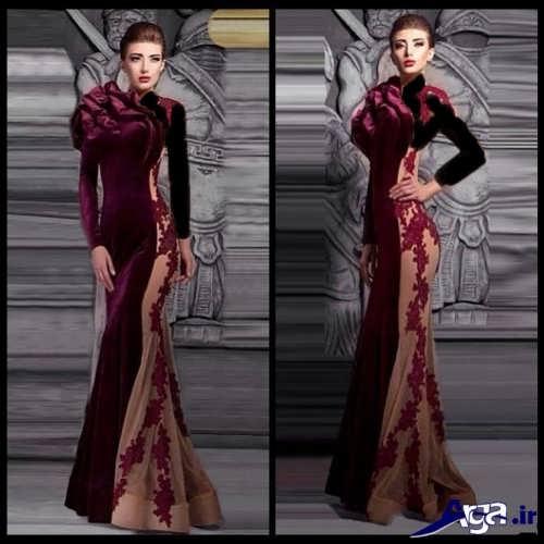 مدل لباس مجلسی مخمل کار شده