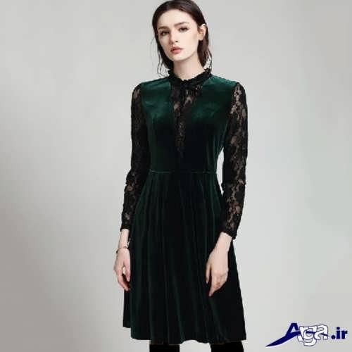 مدل لباس مخمل کار شده با گیپور