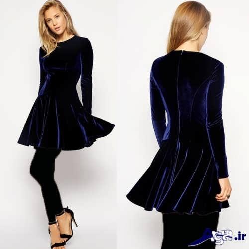 لباس مخمل با طرح کوتاه