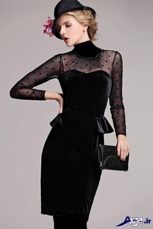 مدل لباس مخمل کار شده با تور
