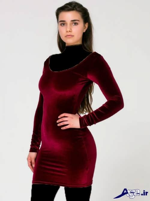 لباس مخمل زرشکی