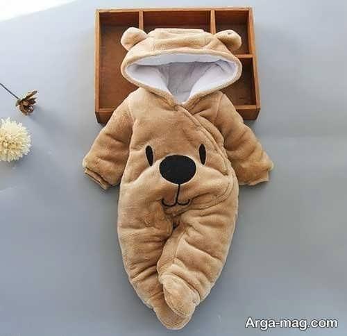لباس سرهمی نوزادان با طرح خرس