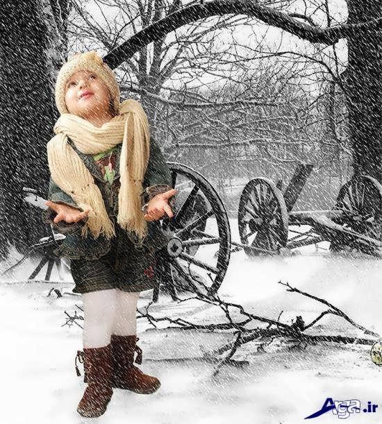 ژست عکس برای کودک در زمستان