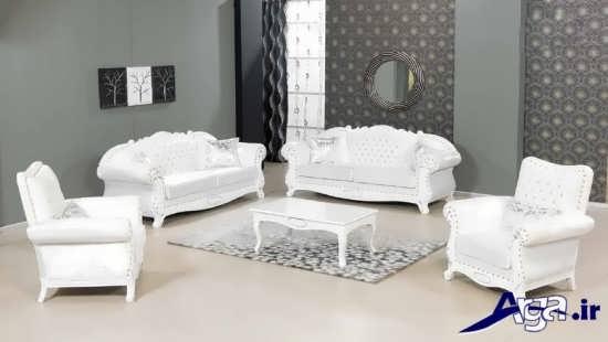 مدل مبل کلاسیک سفید