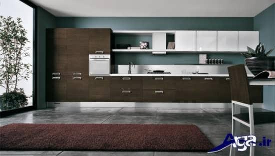 مدل کابینت قهوه ای و سفید آشپزخانه