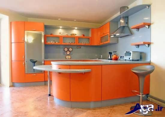 کابینت طوسی و نارنجی