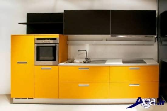 مدل کابینت مشکی و زرد