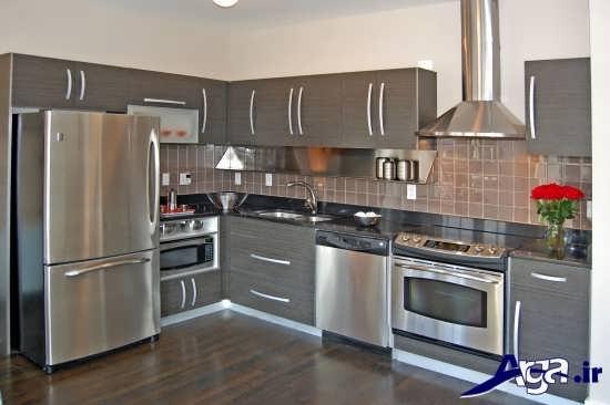 مدل کابینت طوسی و شیک آشپزخانه