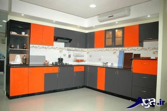 مدل کابینت نارنجی و طوسی